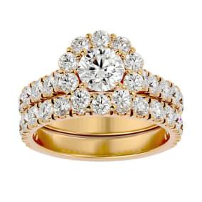 3 Carat Halo Diamond Bridal Set In 14 Karat Yellow Gold. Huge Bridal Set At A Very Low Price