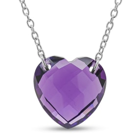 7 Carat Heart Shape Amethyst Necklace In Sterling Silver, 18 Inches.  Brand New Style!