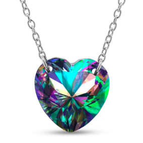 7 Carat Heart Shape Mystic Topaz Necklace In Sterling Silver, 18 Inches.  Brand New Style!