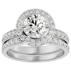 2 1/2 Carat Moissanite Halo Bridal Set In 14 Karat White Gold With 1 1/2 Carat Center Moissanite