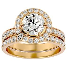2 1/2 Carat Moissanite Halo Bridal Set In 14 Karat Yellow Gold With 1 1/2 Carat Center Moissanite