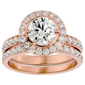 2 1/2 Carat Moissanite Halo Bridal Set In 14 Karat Rose Gold With 1 1/2 Carat Center Moissanite