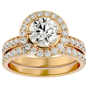 2 1/2 Carat Halo Diamond Bridal Set In 14 Karat Yellow Gold With 1 1/2 Carat Center Diamond