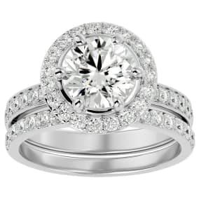 3 Carat Moissanite Halo Bridal Set In 14 Karat White Gold With 2 Carat Center Moissanite