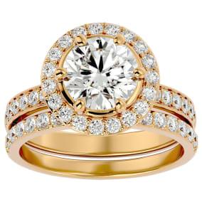 3 Carat Moissanite Halo Bridal Set In 14 Karat Yellow Gold With 2 Carat Center Moissanite