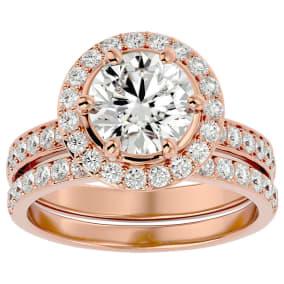3 Carat Moissanite Halo Bridal Set In 14 Karat Rose Gold With 2 Carat Center Moissanite