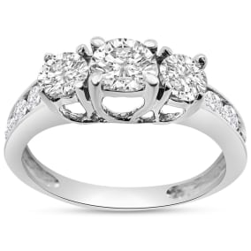 Previously Owned 1 Carat Three Stone Plus Diamond Engagement Ring In White Gold