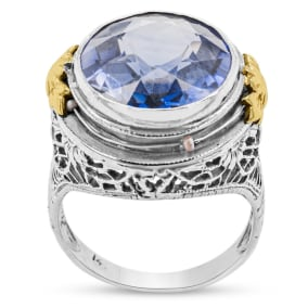 Previously Owned 4 Carat Purple Topaz Ring In 14 Karat White and Yellow Gold