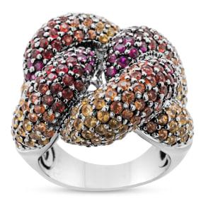 Previously Owned 10 Carat Rainbow Gemstone Ring In 18 Karat White Gold