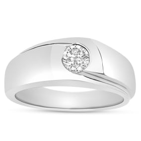 Previously Owned 1/2 Carat Mens Diamond Wedding Band Ring In 14 Karat White Gold