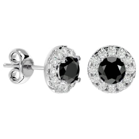 1 Carat Black Diamond and Halo Diamond Stud Earrings In 14 Karat White Gold