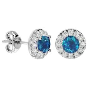 1 Carat Blue Diamond and Halo Diamond Stud Earrings In 14 Karat White Gold
