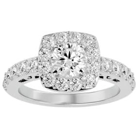 2 1/2 Carat Halo Diamond Engagement Ring In 14 Karat White Gold. Gorgeous New Style!