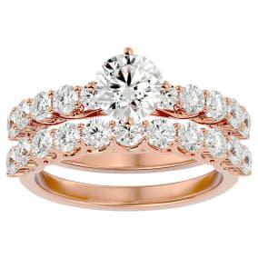 2 1/2 Carat Diamond Bridal Set In 14 Karat Rose Gold