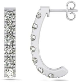 3 Carat Diamond J Hoop Earrings In 14 Karat White Gold. Sizzling, Fiery Gorgeous Hue Hoop Earrings!