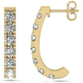 3 Carat Diamond J Hoop Earrings In 14 Karat Yellow Gold. Sizzling, Fiery Gorgeous Hue Hoop Earrings!