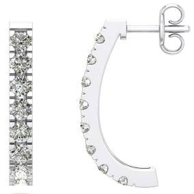 1 1/4 Carat Diamond J Hoop Earrings In 14 Karat White Gold