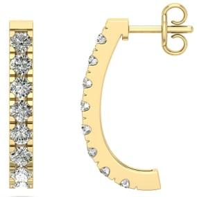 1 1/4 Carat Diamond J Hoop Earrings In 14 Karat Yellow Gold