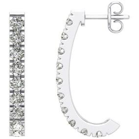 2 Carat Diamond J Hoop Earrings In 14 Karat White Gold