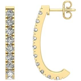 2 Carat Diamond J Hoop Earrings In 14 Karat Yellow Gold