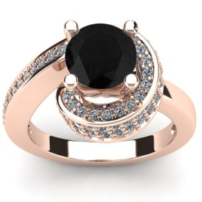 Modern Asymmetrical Round Brilliant 2 Carat Black Diamond Engagement Ring In 14K Rose Gold