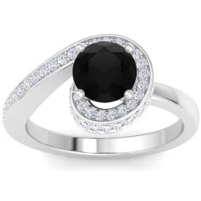 Modern Asymmetrical Round Brilliant 2 Carat Black Diamond Engagement Ring In 14K White Gold