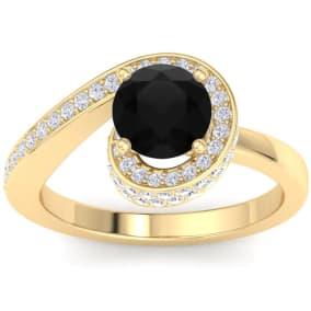 Modern Asymmetrical Round Brilliant 2 Carat Black Diamond Engagement Ring In 14K Yellow Gold