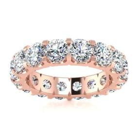 3 1/2 Carat Round Moissanite Comfort Fit Eternity Band In 14 Karat Rose Gold, Ring Size 5.5
