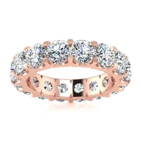 3 1/2 Carat Round Moissanite Comfort Fit Eternity Band In 14 Karat Rose Gold, Ring Size 6.5