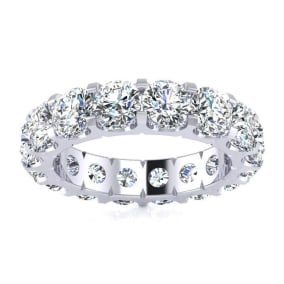 3 3/4 Carat Round Moissanite Comfort Fit Eternity Band In Platinum, Ring Size 7