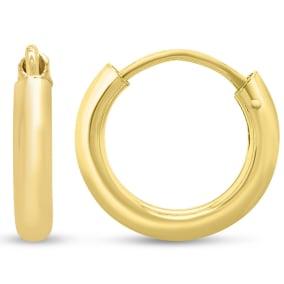 12x2.25MM Endless Hoop Earrings In 14 Karat Yellow Gold Over Sterling Silver