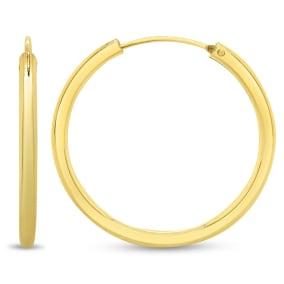 28x2.25MM Endless Hoop Earrings In 14 Karat Yellow Gold Over Sterling Silver