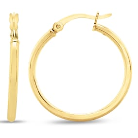 25MM Classic Hoop Earrings In 14 Karat Yellow Gold Over Sterling Silver.  Perfect 1 Inch Size For Every Day!