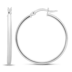 30MM Classic Hoop Earrings In Sterling Silver