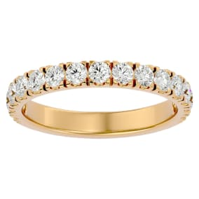 Previously Owned 1 Carat Moissanite Wedding Band In 14 Karat Yellow Gold, Size 4.5