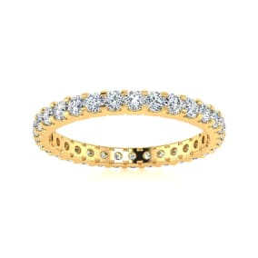 Previously Owned 14 Karat Yellow Gold 1 Carat Moissanite Eternity Band, Size 4.5