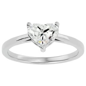 1.42 Carat Heart Shape Diamond Solitaire Ring In 14 Karat White Gold