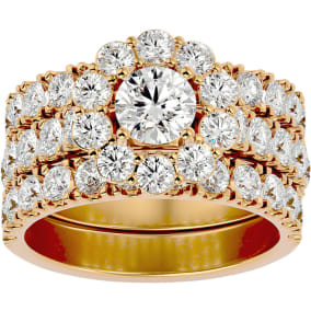 4 1/4 Carat Round Shape Diamond Bridal Set With Two Bands In 14 Karat Yellow Gold