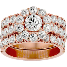4 1/4 Carat Round Shape Diamond Bridal Set With Two Bands In 14 Karat Rose Gold