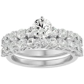 2 1/2 Carat Round Shape Diamond Bridal Set In 14 Karat White Gold