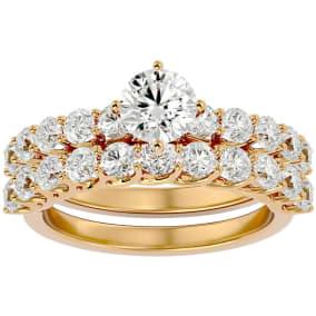 2 1/2 Carat Round Shape Diamond Bridal Set In 14 Karat Yellow Gold