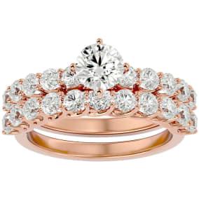 2 1/2 Carat Round Shape Diamond Bridal Set In 14 Karat Rose Gold