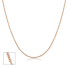 14 Karat Rose Gold 1.2mm Cable Chain, 16 Inches