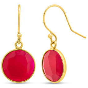 Previously Owned 17 Carat Ruby Drop Earrings In 14K Yellow Gold Over Sterling Silver, 1 Inch