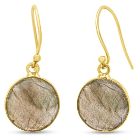 Previously Owned 17 Carat Labradorite Drop Earrings In 14K Yellow Gold Over Sterling Silver, 1 Inch