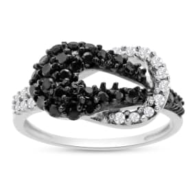 0.61 Carat Black and White Diamond Cocktail Ring In Sterling Silver