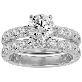 3 1/2 Carat Round Diamond Bridal Set In 14 Karat White Gold