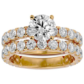 3 1/2 Carat Round Diamond Bridal Set In 14 Karat Yellow Gold