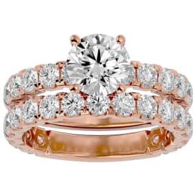 3 1/2 Carat Round Diamond Bridal Set In 14 Karat Rose Gold