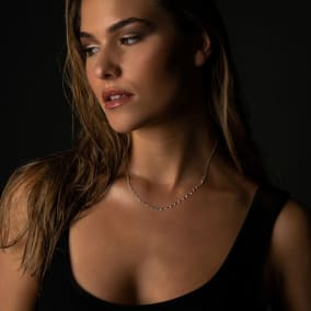 1 1/5 Carat Diamond Raindrops Necklace In 14 Karat White Gold, 16-18 Inches